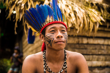 Native Brazilian man from Tupi Guarani Tribe, Brazil
