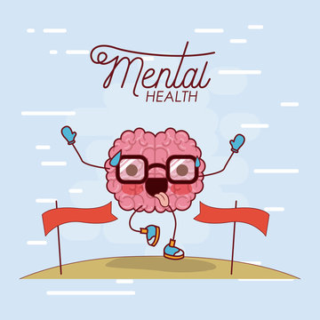 mental health poster of brain cartoon with glasses running and pass finishing line and background light blue