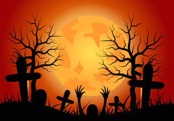 Halloween concept on red background.vector illustration.