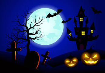 Halloween pumpkins and dark castle on blue Moon background.vector illustration.