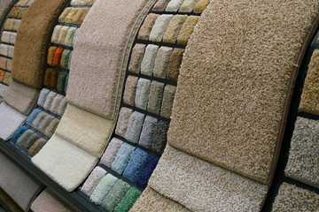 Colorful carpet samples in the store