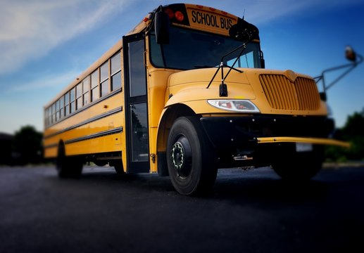 School bus front right view from low angle