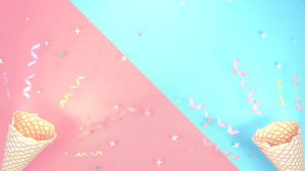 Happy Holidays greetings. Colorful streamers, stars and ice cream cone. 3d rendering picture.