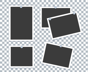 Realistic photo frame placed on transparent background with different effect.