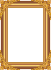 Wall Mural - Gold photo frame with corner thailand line floral for picture, Vector design decoration pattern style.frame border design is pattern Thai style