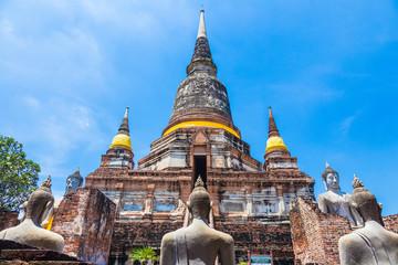The main stupa, chedi, at a national historic place, Wat Yai Chai Mongkol in Ayudhaya, Thailand