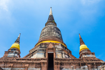 The main stupa, chedi, at a national historic place, Wat Yai Chai Mongkol in Ayudhaya, Thailand