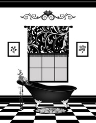 Cute Black and White Bathroom With Vintage Claw-foot Bathtub and Fish Faucet