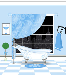 Cute Powder-Blue Bathroom With Vintage Claw Foot Bathtub