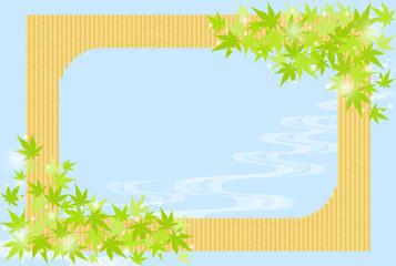 水辺イメージ 竹垣と青紅葉