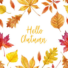 Watercolor autumn leaves vector frame