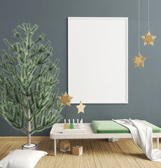 Modern Christmas interior of Scandinavian style. 3D illustration. poster mock up