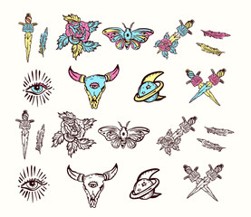 Set of esoteric color tattoo elements. Skull bull, rose, knife, butterfly, moon. Esoteric, sacred geometry tattoos, hand drawn vector