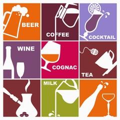 Symbols of various beverages