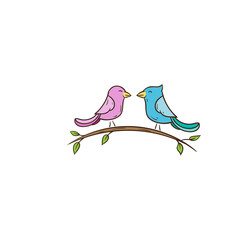two cute bird floral vector