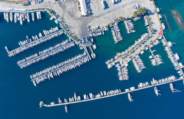 Aerial view of the big yacht marina.