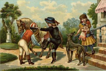 Children's games. Horseback riding.