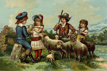 Children's games. Play with the sheep.