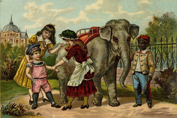 Children's games. Riding the elephant.