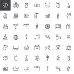 Party line icons set, outline vector symbol collection, linear style pictogram pack. Signs, logo illustration. Set includes icons as balloons, disco ball, fireworks, eye mask, clown, party blower