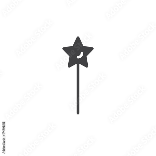Magic Wand Icon Vector Filled Flat Sign Solid Pictogram Isolated