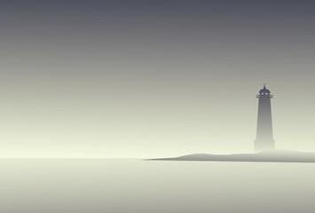 Foggy Lighthouse - Vector