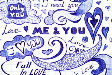 Love doodles messages with phrase, patterns and elements.