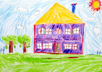 House. Child pencil hand drawing.