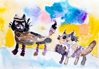 Two cats. Child watercolour hand drawing