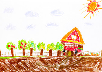 Child pencil hand drawing. House with orchard and garden.
