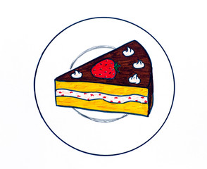Piece of cake on plate. Markers hand drawing.