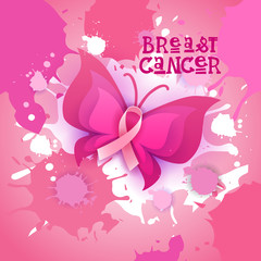 Pink Ribbon Butterfly Breast Cancer Awareness Banner Flat Vector Illustration