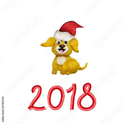 Plasticine 3d Christmas Chinese New Year Symbol Yellow Dog Stock