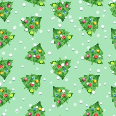 New year seamless pattern 2. Fir tree and balls. Christmas background
