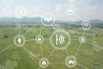 internet of things industrial agriculture,smart farming concepts,the various farm technology in the futuristic icon on the field background ict (information communication technology) Fototapete