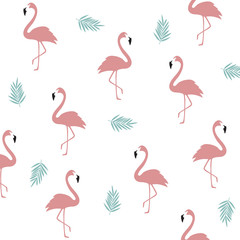 Tuinposter Flamingo Seamless flamingo pattern background. Flamingo poster design. Wallpaper, invitation cards, textile print vector illustration design