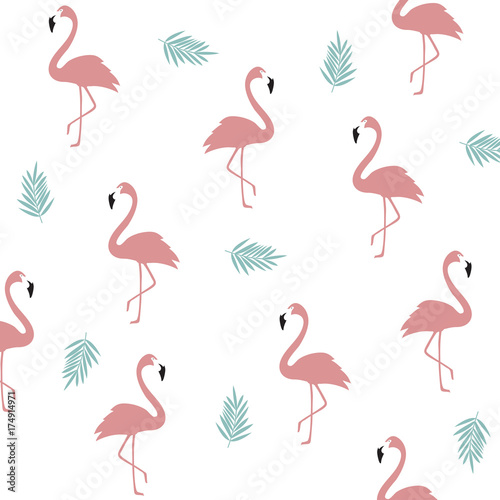 Seamless Flamingo Pattern Background Poster Design Wallpaper Invitation Cards Textile Print