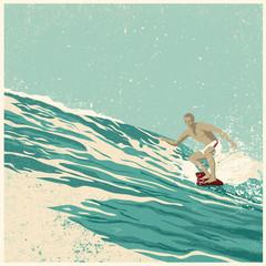 Surfer and big wave