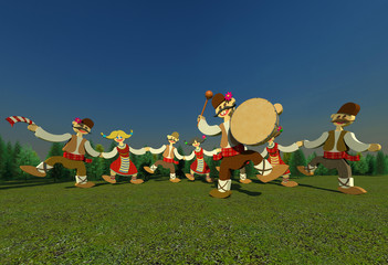 Traditional Bulgarian folk dance with drummer 3D illustration 4. Collection