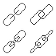 Set of pixel chain icons. Fully editable