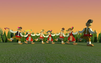 Traditional bulgarian ring dance 3D illustration 1. Collection.