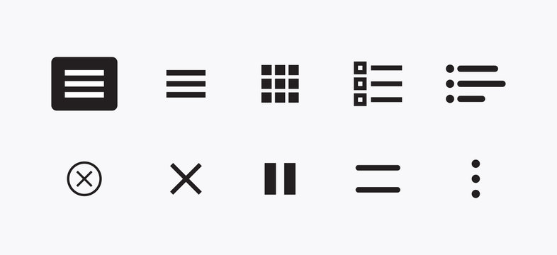 Set of Burger Website Navigation Menu Icons. Vector Set of UI Design Elements. Interface Design Vector Icon Set of hamburger Menu. Website Navigation Icons for Mobile App and User Interface.