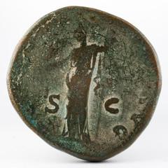 Ancient Roman bronze sertertius coin of Emperor Hadrian. Reverse.