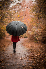 Fashionable girl with an umbrella in the rain walking along the autumn park