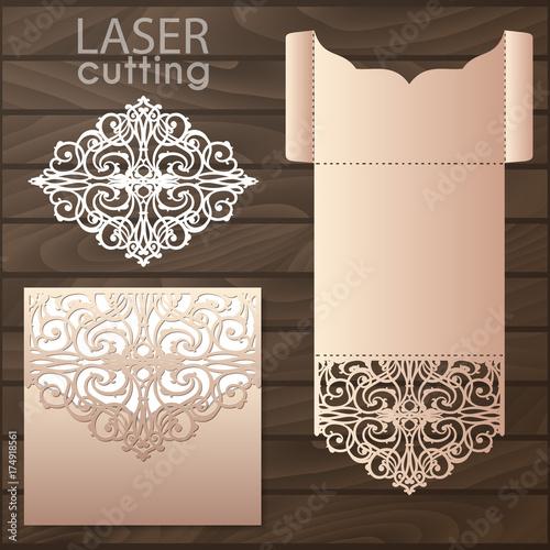 Wedding Card Envelope Template | Die Laser Cut Wedding Card Vector Template Invitation Envelope