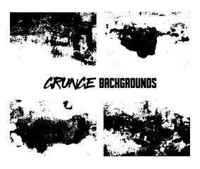 Grunge backgrounds. Monochrome abstract vector grunge textures. Set of hand drawn brush strokes and stains.