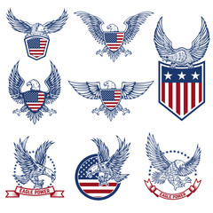 Set of emblems with eagles and american flags.