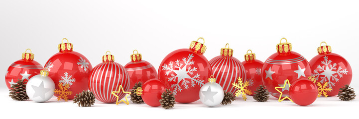 3d render of many red and silver christmas baubles and christmas decorations over white background - panorama - merry christmas concept