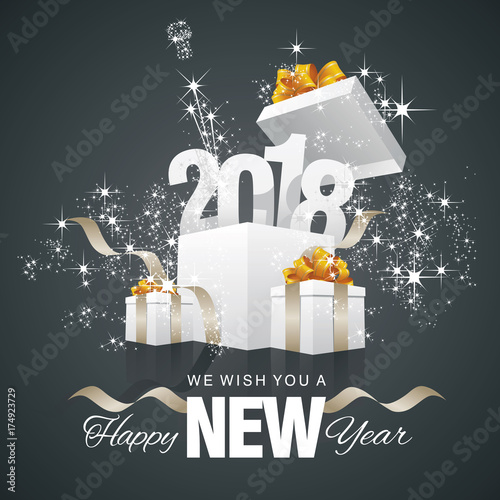 happy new year 2018 firework box black background