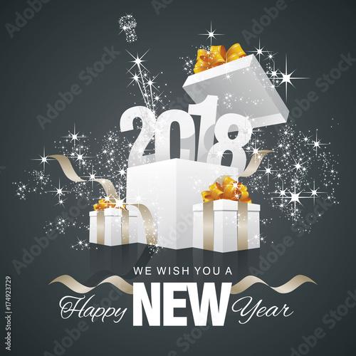 happy new year 2018 firework box black background
